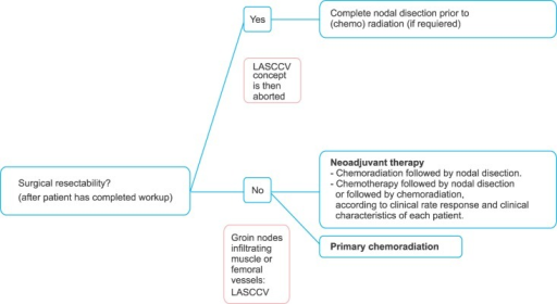 Authors recommendations for the management of probably locally advanced squamous cell carcinoma of the vulva (LASCCV): primary treatment of regional disease.