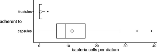 Distribution of the number of bacteria cells adherent to diatom valve faces of different surface types (frustule or capsule) in xenic A. minutissimum biofilms.Bacteria were counted in SEM images, if they were in direct, visible contact with the valve face of either a frustule (N = 54) or a completely encapsulated diatom cell (N = 71; see Figs. 2B and 3A for illustration). Samples were taken from 11 to 31 days old cultures. Boxes represent 1st and 3rd quartile. Black center lines represent medians. Diamond symbols represent means. Whiskers extend to 1.5-fold of the inter-quartile range (IQR). Black dots represent extreme values that lie outside the IQR.