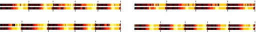 Predicted atomic events vs. ground-truth for the leave-one-subject-out evaluation of the Labeling & Packaging dataset.Each figure represents the predictions of the atomic events in sequences belonging to the left-out subject (left to right, top to bottom: subject 1,2,3,4). The bottom bars show the ground truth and the top bars show the prediction. The vertical lines separate two consecutive workflow sequences. Different colors indicate different atomic events.