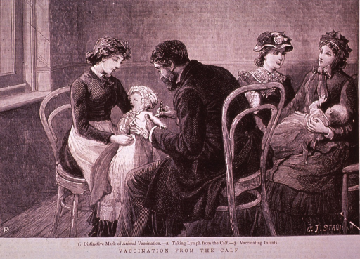 <p>Two mothers are sitting with their infants while the physician vaccinates an infant held by a young woman.</p>
