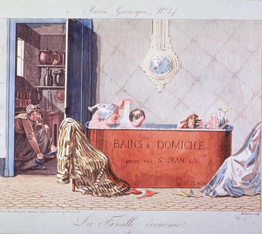 <p>Interior view showing parents and children bathing together.</p>