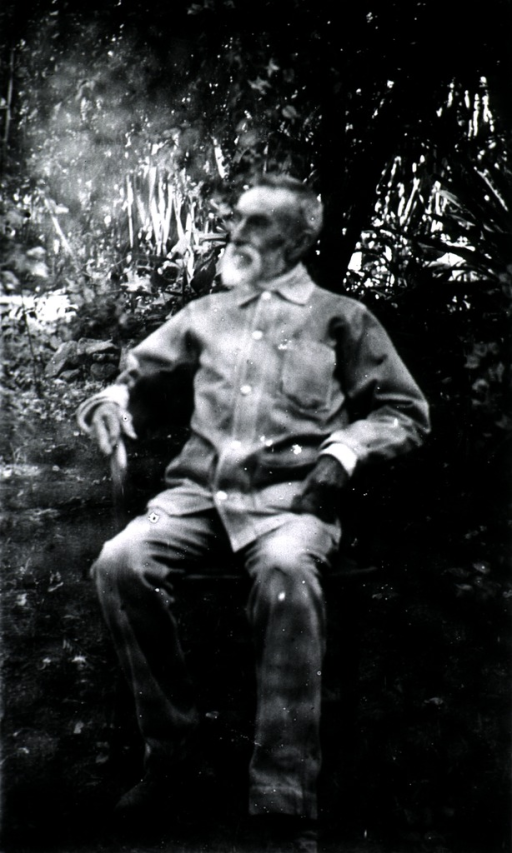 <p>Full length, seated, head turned to left.</p>