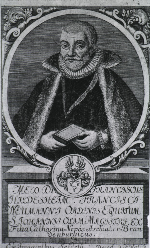 <p>Half length, full face, wearing cape, holding book; coat-af-arms; medallion with engraved plate in script.</p>