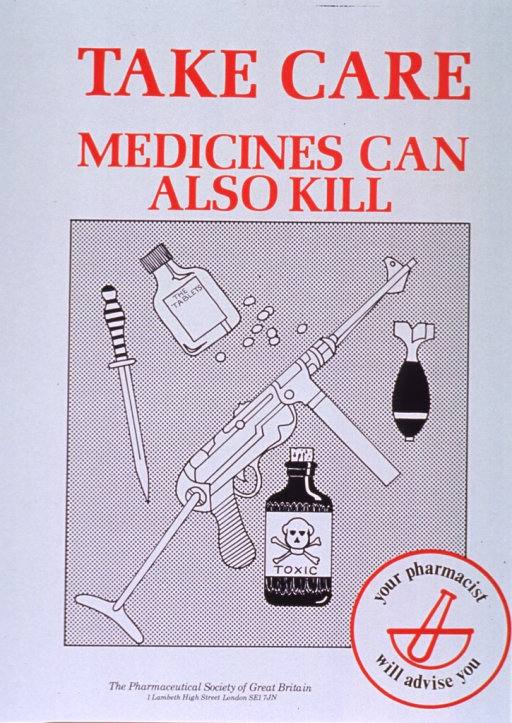 <p>White poster with red and black lettering.  Title at top of poster.  Visual image is an illustration featuring weapons, poison, and pills.  Weapons include a dagger, a machine gun, and a small bomb.  Note incorporated into logo in lower right corner of poster.  Publisher information at bottom of poster.</p>