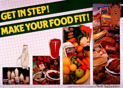 <p>White and green poster with yellow and green lettering.  Title at top of poster.  Visual images are color photo reproductions featuring dairy products, meat and other sources of protein, fruits and vegetables, and grain products.  Cartoon-style illustrations of a milk bottle jumping rope, a t-bone lifting weights, a carrot doing toe touches, and a muscular potato accompany the photos.  Publisher information in lower right corner.</p>