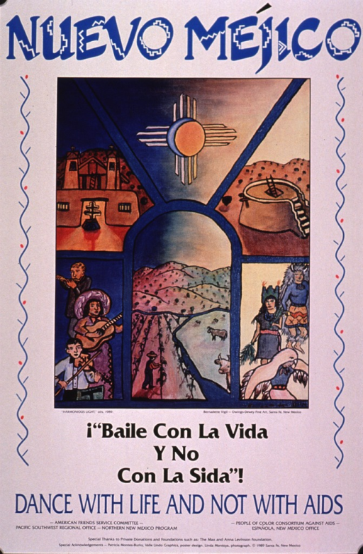 <p>White poster with print in blue and black. The visual in the center of the poster is a representation of the oil painting &quot;Harmonious light&quot;. The painting is divided into several scenes including the sun, people playing musical instruments, a man working in a field, a church, and several people dressed in traditional American Indian costumes. The publishing information is at the bottom of the poster.</p>