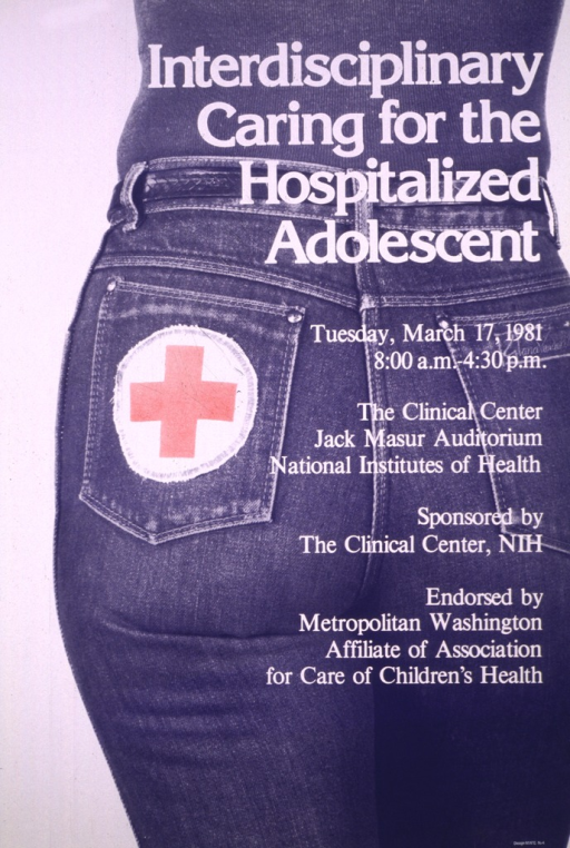 <p>White poster showing the back view of a person in denim jeans.  The view is from the waist to the thigh and the back pocket has a first aid patch (white circle with a red cross) sewn on it.</p>