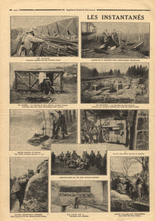 <p>Ten European views of warfare associated with World War I, including soldier graves, trenches, artillery, and daily life of the military.</p>