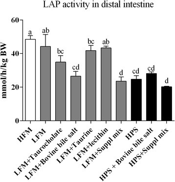 Leucine aminopeptidase (LAP) activity in the distal intestinal tissue, expressed as per kg body weight. Values are means with standard errors represented by vertical bars. Different letters denote diet groups that are significantly different