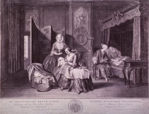<p>Interior of a bedroom with woman resting in bed after childbirth; her husband sits at bedside. A wet nurse, sitting in a chair, is about to feed the newborn infant, and another woman (midwife?) stands next to the chair.</p>