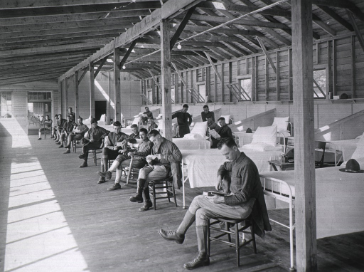 <p>Interior of open air ward for tuberculosis patients.</p>
