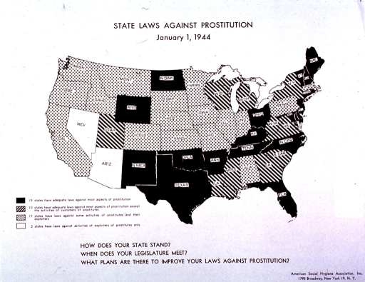 <p>U.S. map of state laws prohibiting prostitution, Jan. 1, 1944.</p>