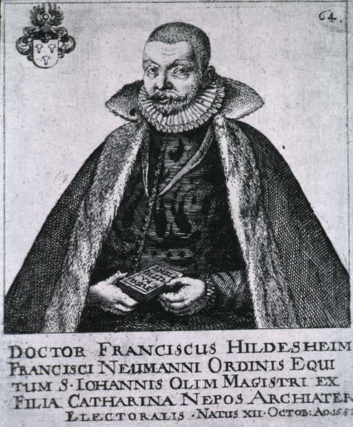 <p>Half length, seated with book in hands.  Old print with coat-of-arms in upper left corner; &quot;64&quot; in upper right.</p>
