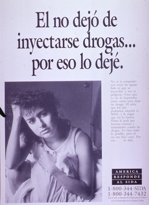 <p>Predominantly white poster with black lettering.  Title at top of poster.  Visual image is a b&amp;w photo reproduction featuring a young woman.  She rests her head on one hand and clutches a pillow or some sheets to her chest.  Caption on right side of poster stresses the risk of AIDS from injection drug use and the refusal of the woman's male partner to stop the drug use despite the risks.  Note and publisher information in lower right corner.</p>