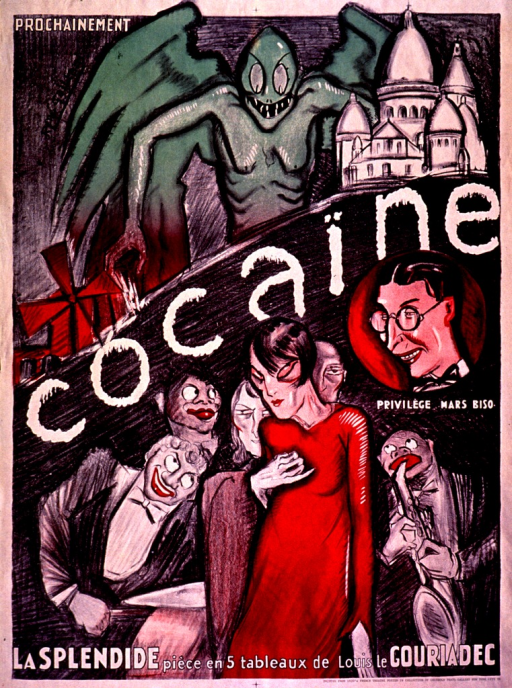 <p>Multicolor poster with black and white lettering.  Visual image is an illustration combining a green, winged monster, some buildings, and a gaunt looking woman surrounded by what appears to be a jazz combo.  Initial title word in center of poster; remaining title text at bottom of illustration.  Note on right side of poster, below an illustration of a man's face.  Caption in lower right corner.</p>