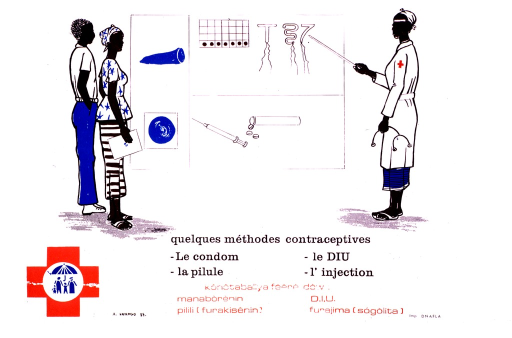 <p>Multicolor poster with black and red lettering.  Visual image in upper portion of poster.  Image is an illustration of a man and woman looking at a large poster of contraceptive methods while a health worker points to an IUD.  Title in French and Bambara below illustration.  Logo in lower left corner.  Publisher information in lower right corner.</p>