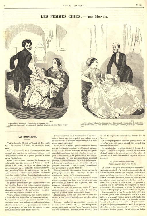 <p>Illustration by an unknown artist of a story appearing in the journal.  A seated woman holds her hand out limply to a doctor who stands over her.</p>
