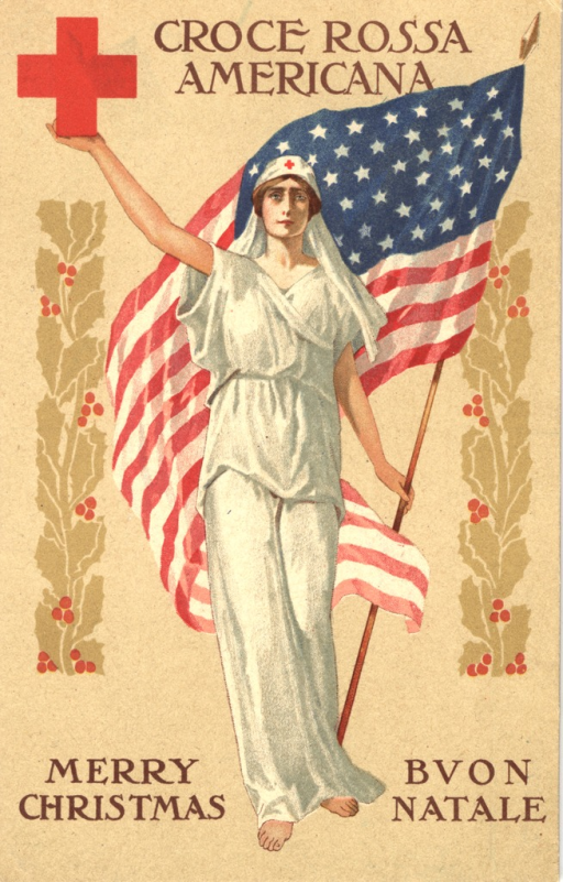 <p>Postcard featuring a color illustration of a lady dressed in white holding up a red cross in her right arm and an American flag with her left arm. Holly leaves border her to the left and the right.</p>