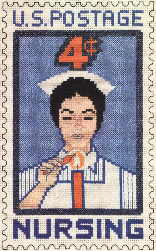 <p>Color illustration of needlework done in the design of a special stamp issued by the United Staes Postal Service in 1961 commemorating the nursing profession.</p>