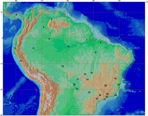 Geographical distribution of the Bryconidae samples. 1-Brycon moorei; 2-Brycon chagrensis, Brycon petrosus; 3-Brycon moorei, Salminus affinis; 4-Brycon amazonicus, Brycon falcatus; 5-Brycon amazonicus; 6-Brycon falcatus; 7-Brycon pesu; 8-Brycon pesu; 9-Salminus sp.; 10-Brycon amazonicus; 11-Brycon melanopterus; 12-Chilobrycon deuterodon; 13-Brycon aff. atrocaudatus; 14-Brycon falcatus; 15-Brycon gouldingi; 16-Brycon cf. falcatus; 17-Brycon hilarii; 18-Brycon pesu; 19-Brycon sp.; 20-Brycon hilarii; 21-Brycon hilarii; 22-Brycon orthotaenia, Salminus franciscanus; 23-Brycon ferox, Brycon vermelha, Henochilus wheatlandii; 24-Brycon insignis; 25-Brycon nattereri; 26-Brycon opalinus; 27-Brycon opalinus; 28-Brycon orbignyanus, Salminus brasiliensis; 29-Salminus hilarii; 30-Brycon nattereri. Map constructed with the program QGIS 2.2.0 (http://www.qgis.org) using layers obtained in the websites http://www.earthobservatory.nasa.gov and http://www.ibge.gov.br/home/geociencias.
