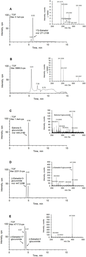 Ion chromatograms and mass spectra (inset) of 17β-estradiol and its metabolites.(A) 17β-estradiol in the medium in absence of isolated hepatocytes; (B) 17β-estradiol in the medium in the presence of isolated hepatocytes. No 17β-estradiol was found after 6 h of cell culture; (C) identified 17β-estradiol metabolite estrone-3-glucuronide (m/z− = 445.2190). The samples were analyzed in ESI– ionization mode; (D) identified 17β-estradiol metabolite β-estradiol-3-glucuronide (m/z− = 447.2298) in ESI– ionization mode; (E) a mixture of authentic standards β-estradiol-17-glucuronide and β-estradiol-3-glucuronide.