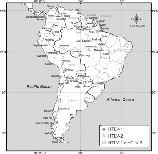 HTLV-1 and HTLV-2 among indigenous populations of South America. Based onthe references from Table 2.