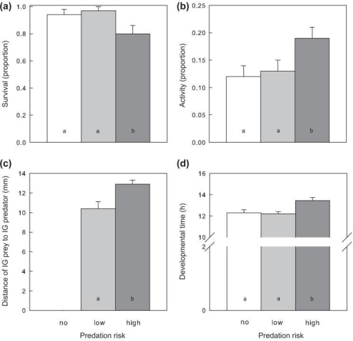 Influence of IGP risk (no: white, n = 39; low: light grey, n = 37; high: dark grey, n = 46) on survival (a), activity (b), spatial predator avoidance (c) and developmental time (d) of IG prey larvae of P. persimilis (mean + SE). Different letters inside bars indicate significant differences between predation risks (LSD-tests, p < 0.05).