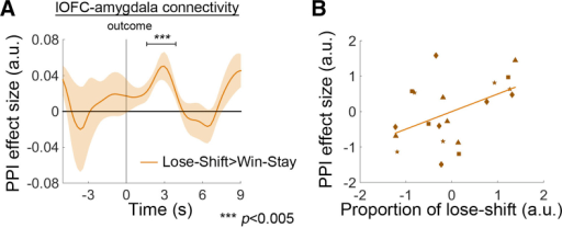 PPI between lOFC and Amygdala that Guided Behavioral Change(A) lOFC and amygdala exhibited stronger connectivity when monkeys performed lose-shift rather than win-stay behavior.(B) Larger PPI effect sizes were related to higher proportions of lose-shift behaviors. Each type of marker symbol in (B) represents data from one animal.