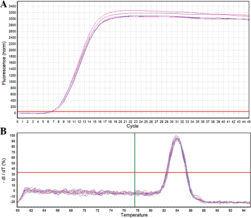 Quantification curve and melting curve for U6. (A) U6 amplification curve. (B) U6 melting curve.