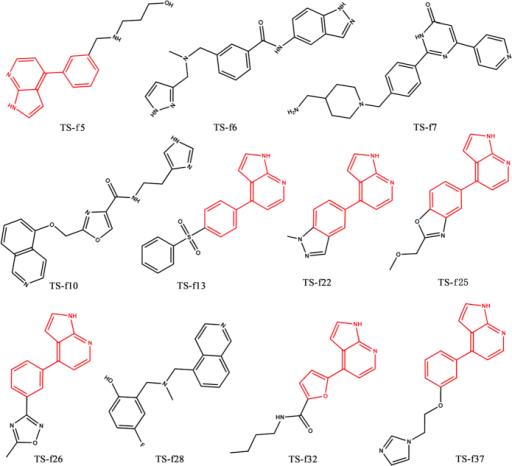 The chemical structures of eleven inhibitors of ROCK1 identified by integrated VS strategy and enzyme-based assay.