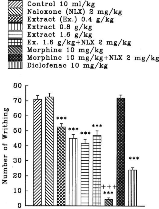 Effect of a subcutaneous injection of naloxone on the antinociceptive effect of intraperitoneally administered Crocus sativus petal ethanolic extract, morphine and diclofenac on acetic acid-induced writhing test in mice. Values are the mean ± S.E.M. of writhes number for 8 mice, ***P<0.001, compared to control (normal saline); +++P<0.001, compared to morphine plus naloxone, Tukey-Kramer test.