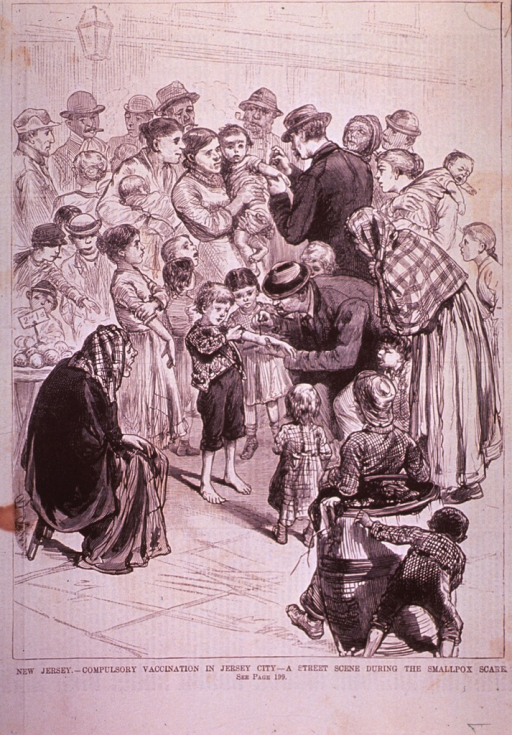 <p>A street scene in Jersey City, New Jersey, depicting compulsory vaccination during the smallpox scare.</p>