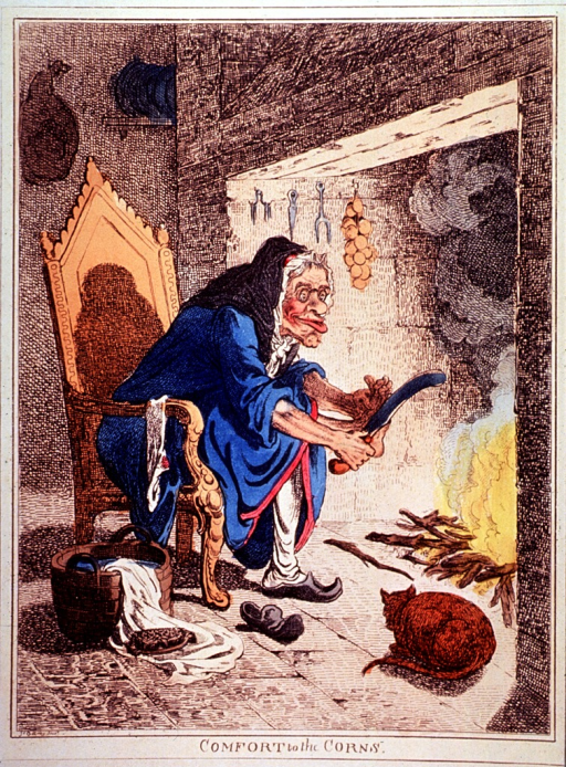 <p>An old woman is sitting before a fireplace; she is holding a large knife and is slicing her toes. A cat, a washtub and a scrub brush are on the floor in the foreground.</p>