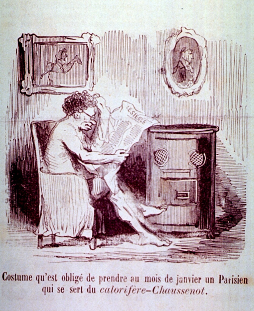 <p>A naked man, sitting in a chair by a stove, is reading the newspaper; the stove puts out so much heat that it is uncomfortable to wear clothes.</p>