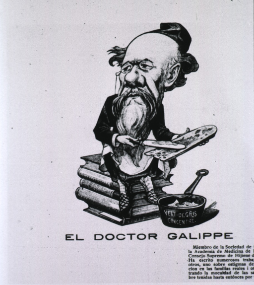 <p>Caricature; full length, seated on pile of books.</p>