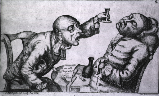 <p>Two statesman, sitting at a small table, are drinking and drowning their sorrows; one man's head is tilted back and drink or spittal dribbles from his mouth, the other man leans over the table and, holding up a glass, offers the man more to drink.</p>