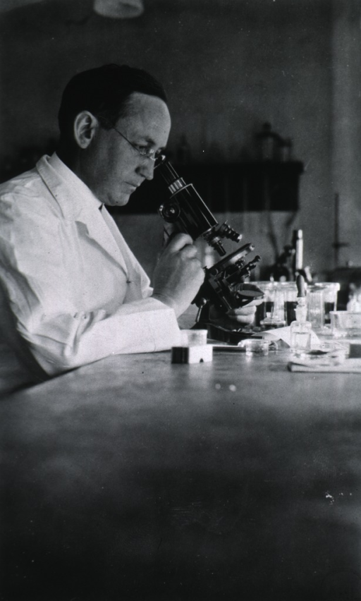 <p>Head and shoulders, right profile, wearing lab coat and looking through a microscope in his lab.</p>