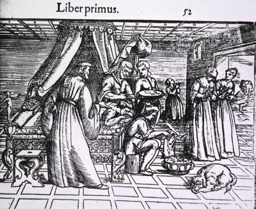 <p>Interior view, trephination in progress; surgeon and assistants stand at bedside; two women are exiting the room while a third is kneeling before a crufix in the background; a dog is lying on the floor.</p>