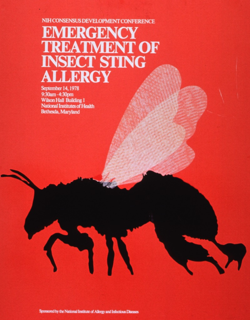 <p>Orange poster with white lettering announcing Consensus Development Conference, Sept. 1978.  Also lists date, time, location, and sponsor.  Central image on poster is a paper applique of an insect.  Body of insect is flat black and wings are a textured cream color.</p>