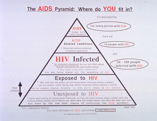 <p>White poster with red and black lettering.  Title at top of poster.  Visual image is a pyramid divided into five sections.  The sections range from &quot;unexposed to HIV&quot; at the bottom to &quot;AIDS&quot; at the top, with degrees of risk behavior and disease in between.  Note text appears to right of pyramid.  Bi-directional arrow near lower left corner of pyramid labeled &quot;your choices.&quot;  Publisher information at bottom of poster.</p>