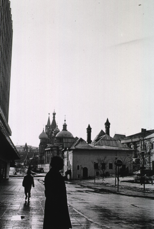 <p>Dr. Donald S. Fredrickson is silhouetted in the foreground, with the Red Square in the background. The most distinct building is the St. Basil (Pokrovski) Cathedral.</p>