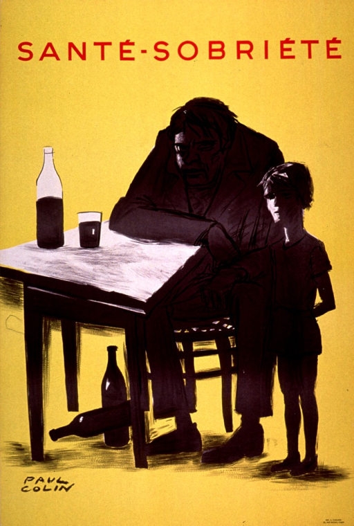 <p>Predominantly yellow poster with red and black lettering.  Title at top of poster.  Visual image is an illustration of a man hunched over a table and a rail-thin boy standing next to him.  A half-empty wine bottle and glass sit on the table and two empty bottles are below the table.  Printer information in lower right corner.</p>