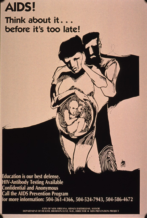 <p>Poster in beige and black with an abstract drawing in the center representing a pregnant woman with a man standing behind her. The woman has a stream of tears running down her cheek and the man has a sad expression on his face. The woman has her hand and arm curved over her rounded abdomen and the drawing shows the unborn child in her womb, fully developed.</p>