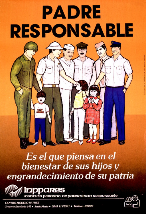 <p>Predominantly orange-tone poster with black and white lettering.  Title at top of poster.  Visual image is an illustration of six men in military uniforms.  Three children stand in front of the men.  Caption below illustration indicates that the responsible father is a man who thinks of the well-being of his children and the glory of his country.  Publisher information and logo at bottom of poster.</p>