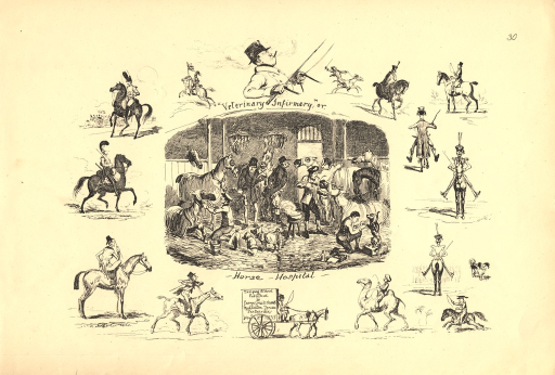 <p>The central illustration is of a busy hospital for horses, who are tended to or treated by a group of men.  Surrounding the central image are cariacures of indiividual horses and their respective riders.  The imprint of the plate appears at the bottom of the page on the side of a two-wheeled buggy pulled by a single horse.</p>