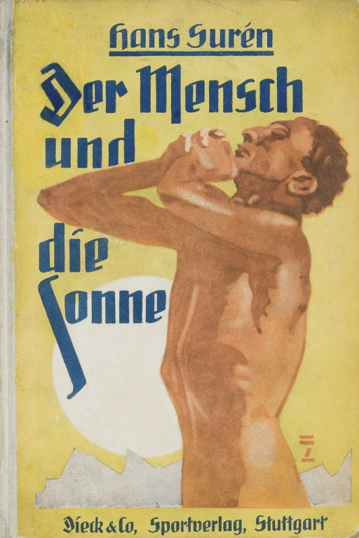 <p>Painting of a naked man, probably Hans Suren, turning toward the sun, from the cover of Der Mensch und die Sonne.</p>