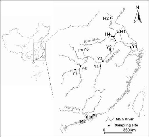 Map of the distribution of N. taihuensis and the sampling locations for this study.