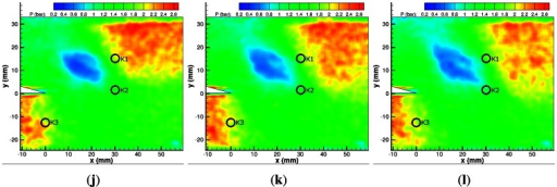 PSP map of Mi = 1.55 shock diffraction process. (a) 20 μs; (b) 40 μs; (c) 60 μs; (d) 80 μs; (e) 100 μs; (f) 120 μs; (g) 140 μs; (h) 160 μs; (i) 180 μs; (j) 200 μs; (k) 220 μs; (l) 240 μs.