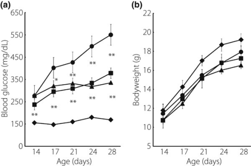 Ex‐4 significantly reduced blood glucose levels in Akita mice. (a) Blood