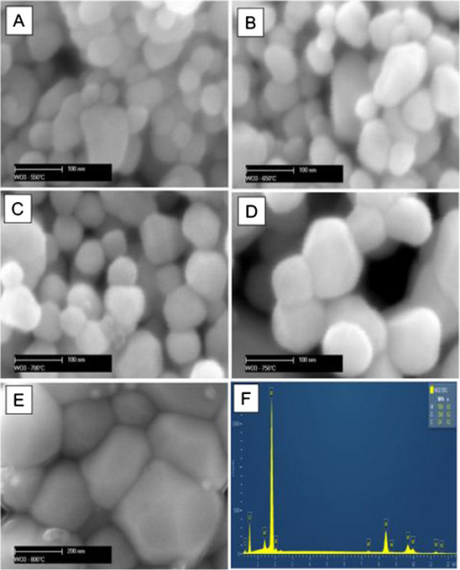 SEM images of the nanostructured WO3 nanostructures obtained by sol-gel process. Annealed at 550°C (A), 650°C (B), 700°C (C), 750°C (D) and 800°C (E), respectively. EDX analysis for WO3 annealed at 550°C (F).